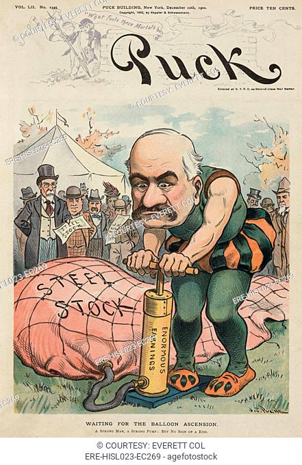 WAITING FOR THE BALLOON ASCENSION 1902 cartoon depicting shows J. Pierpont Morgan as a strong man at a circus attempting to inflate a balloon labeled 'Steel...
