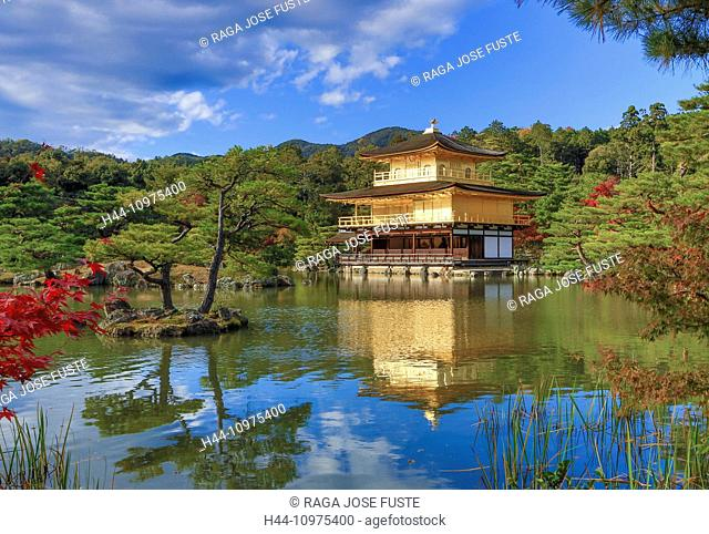world heritage, Japan, Asia, Kansai, Kinkaku-Ji, Kyoto, Landscape, Temple, architecture, colourful, fall, famous, gold, golden, no people, pond, reflection