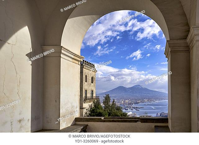 Naples Campania Italy. View of the gulf of Naples and Mount Vesuvius from theCertosa di San Martino(Charterhouseof St