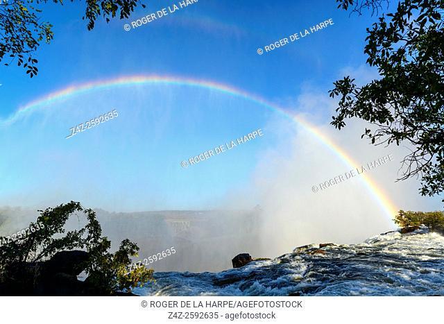 The Zambezi River just above The Eastern Cataract. Victoria Falls. Livingstone. Zambia
