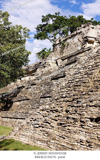 Ruins of Mayan pyramid, Palenque, Chiapas, Mexico