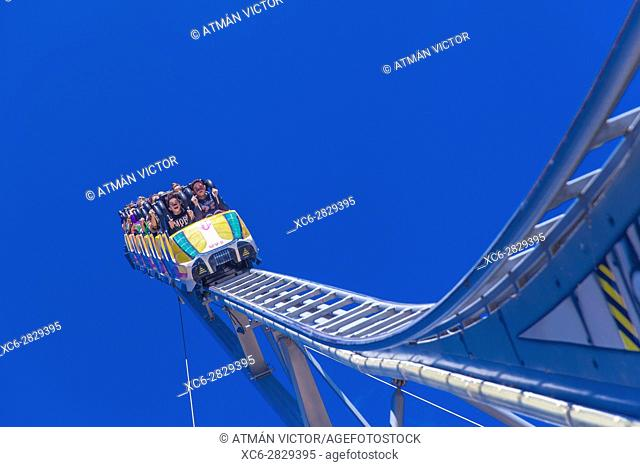 people taking a ride in a fairground attraction in Tenerife island