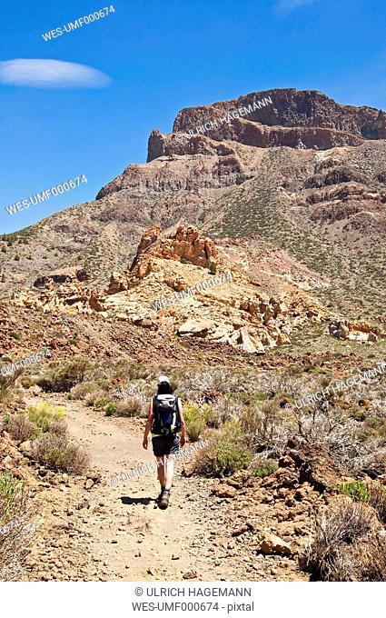 Spain, Canary Islands, Tenerife, Los Roques de Garcia, Teide Nation Park, female hiker