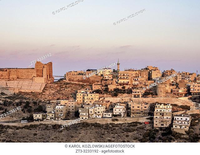 Kerak Castle at sunrise, Al-Karak, Karak Governorate, Jordan
