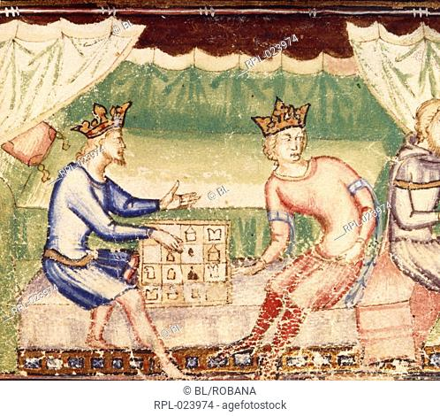 Two kings play chess, Detail of miniature A chess game between two kings. Produced for Louis II, King of Naples Image taken from Roman du Roy Meliadus de...