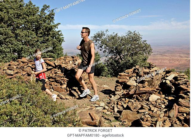 HIKING WITH A GUIDE ON THE DJEBEL KLELOUT MOUNTAIN, ONE OF THE ACTIVITIES AT THE DOMAINE DE TERRES D'AMANAR, TAHANAOUTE, AL HAOUZ, MOROCCO