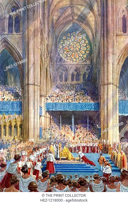 The Homage', George VI's coronation ceremony, 12 May 1937, (1937). A coloured plate from the Illustrated London News: Coronation Record Number, London, 1937