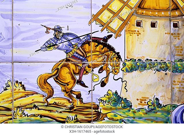 ceramics painting telling an episode of Don Quixote novel, Argamasilla de Alba, Province of Ciudad Real, autonomous community Castile-La Mancha, Spain, Europe