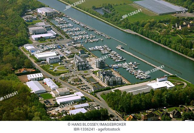 Aerial photo, marina, Datteln-Hamm Canal, harbour, inland waterways, Bergkamen, Ruhr area, North Rhine-Westphalia, Germany, Europe