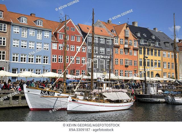 Boats on Nyhavn; Copenhagen; Denmark