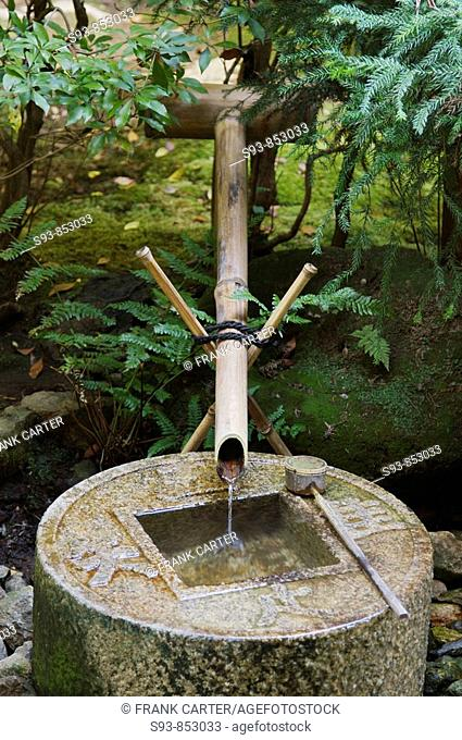 A Japanese bamboo fountain, flowing into a stone basin shaped like a Japanese coin behind Kinkakuji temple in Kyoto