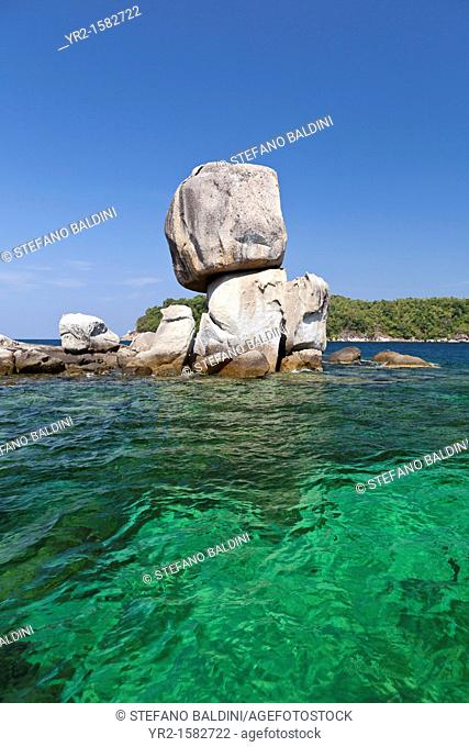 The superimposed rocks of Ko Hin Son island, Tarutao National Marine Park, Thailand