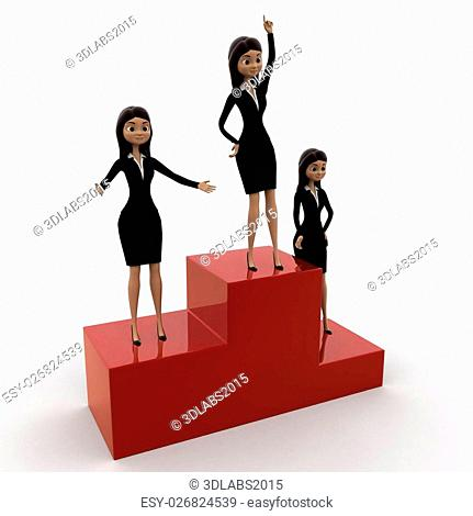 3d woman top winner concept on white background, side angle view