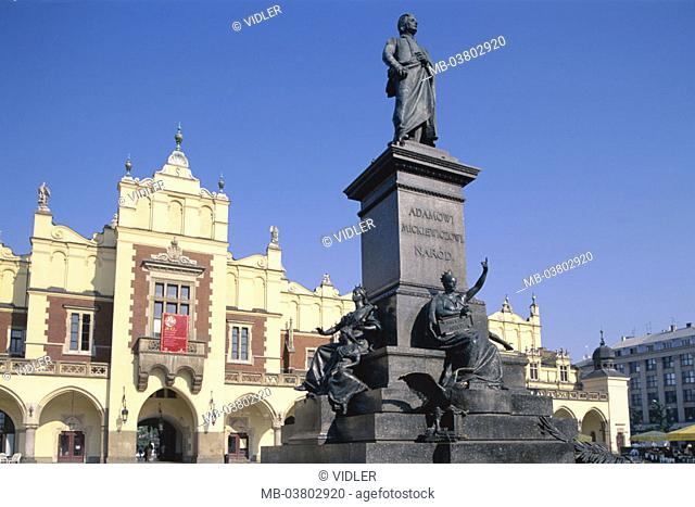 Poland, Cracow, market place, cloth halls, Detail, Adam-Mickiewicz-Denkmal,  Series, Eastern Europe, place 'Rynek Glowny', buildings, construction, architecture