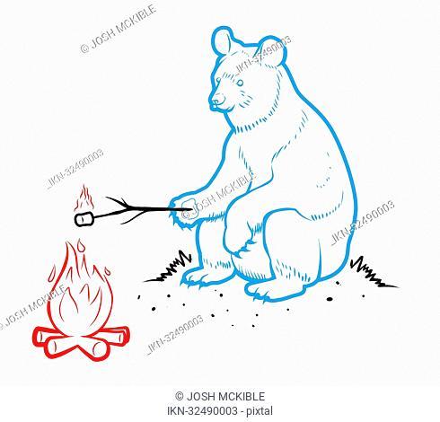 Bear roasting marshmallow at camp fire