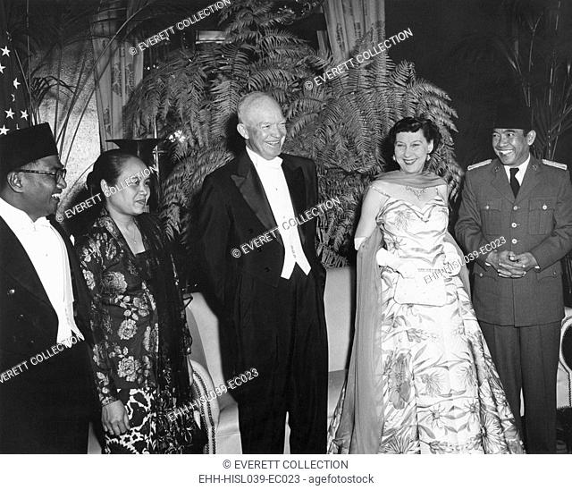President and Mrs. Eisenhower at a dinner given in their honor by the Indonesia's, Sukarno. Mayflower Hotel, May 18, 1956. - (BSLOC-2014-16-207)