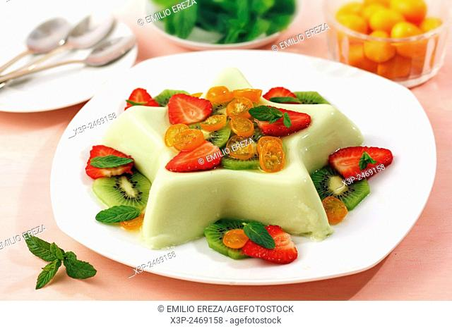 Panacotta with fruits and mint