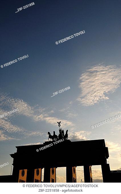 Germany, Berlin. Twilight on Brandenburg Tor