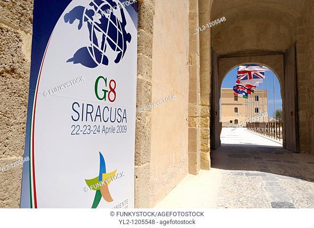 G8 2009 memorial plaque, Maniace castle, Siracuse, Sicily