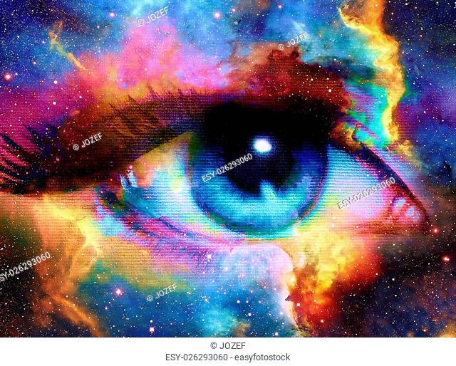 Woman Eye and cosmic space with stars. abstract color background, eye contact