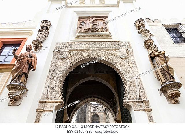 Spain, Andalusia Region. Detail of Alcazar Royal Palace in Seville