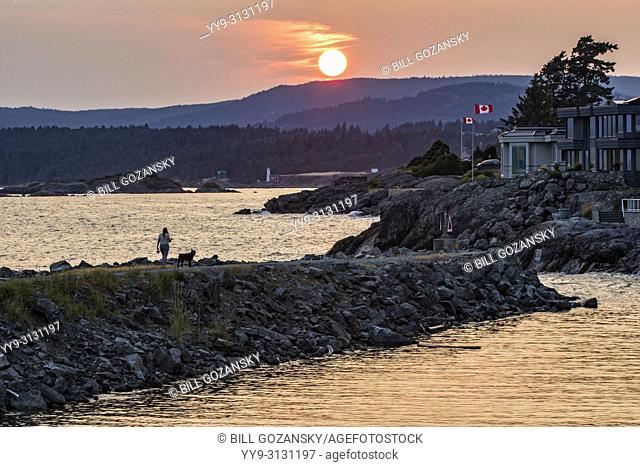Sunset at Macaulay Point Park - Esquimalt, Victoria, Vancouver Island, British Columbia, Canada