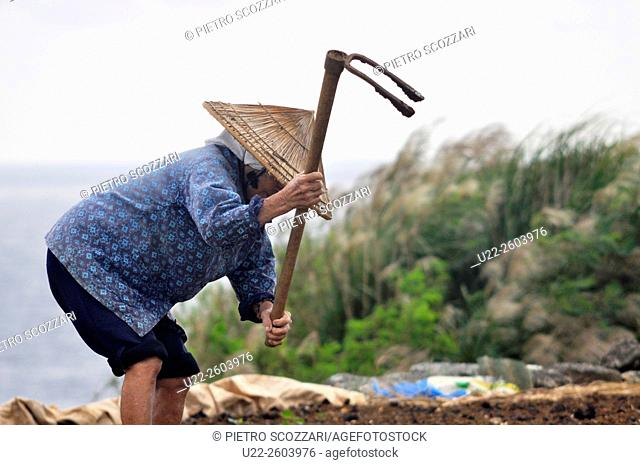 Aguni Island (Okinawa, Japan): aged woman working in a field