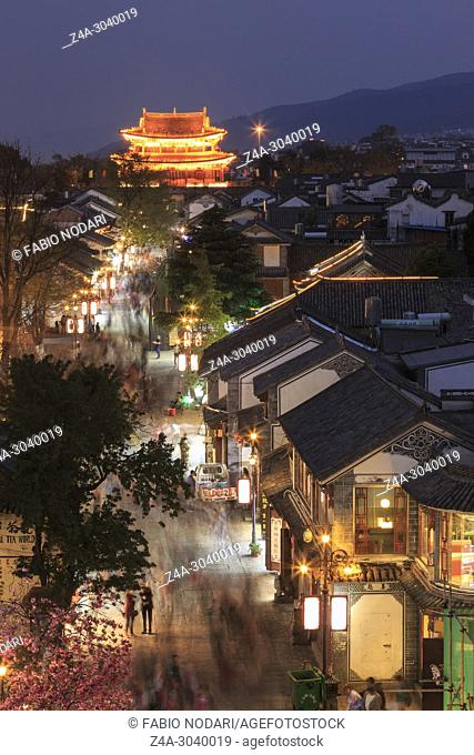 Chinese Tourist walking in Dali Old Town in Yunnan in the evening