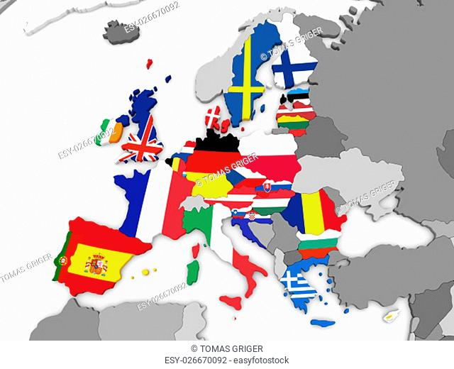 Map of European Union before Brexit with flags of member states. 3D illustration