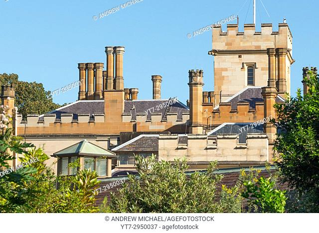 Government house next to Royal Botanic Gardens, Sydney, NSW, Australia