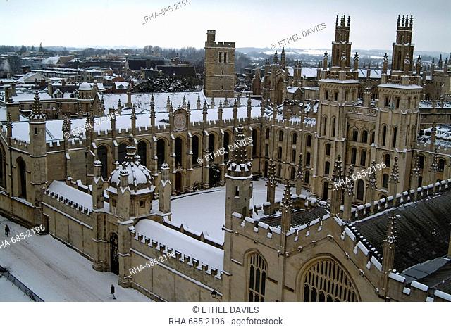View of a snow-covered All Souls College from the tower of St. Mary's Church, Oxford, Oxfordshire, England, United Kingdom, Europe