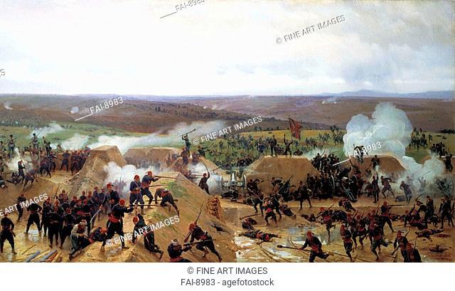 The Russians take the Grivitza redoubt in the third Battle of Pleven on September 11, 1877. Dmitriev-Orenburgsky, Nikolai Dmitrievich (1837-1898)