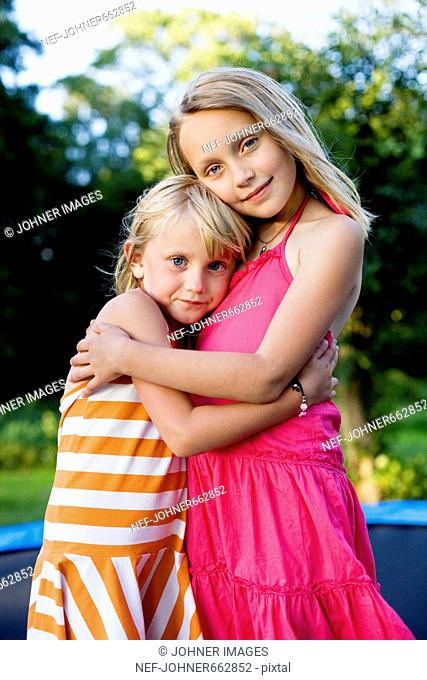 Portrait of two girls in the summer, Sweden