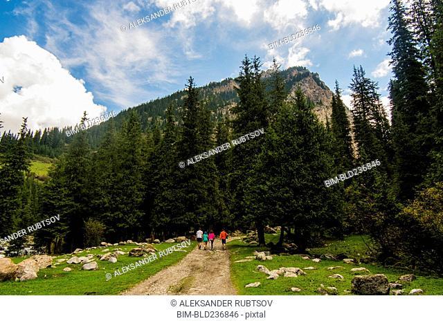 People hiking on path near mountain
