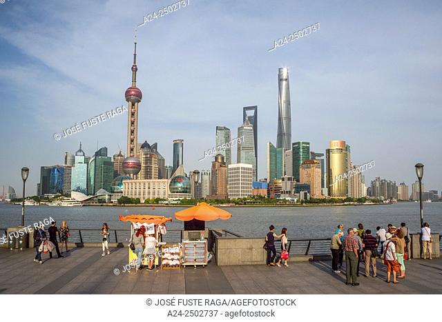 China, Shanghai City, The Bund and Pudong District Skyline