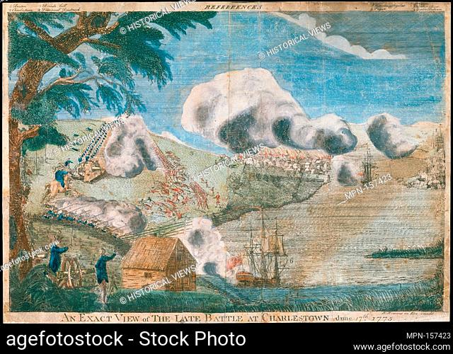 An exact view of the late battle at Charlestown, June 17th, 1775. Artist: Bernard Romans (American (born Holland) 1720-1784 Massachusetts (?)); Date: ca