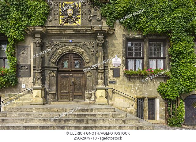 Main entrance and portal of the historic medieval town hall of Quedlinburg, Saxony-Anhalt, Germany