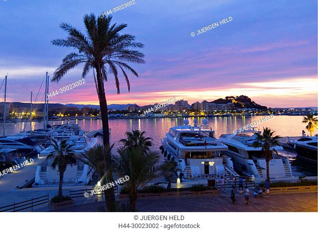 Denia Port and Castle at sunset , Costa Blanca, Spain