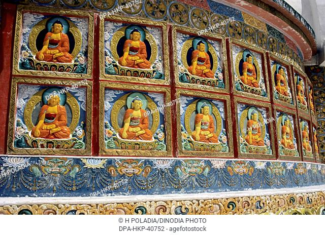 god buddha statues ; shanti stupa ; leh ; ladakh ; jammu and kashmir ; india