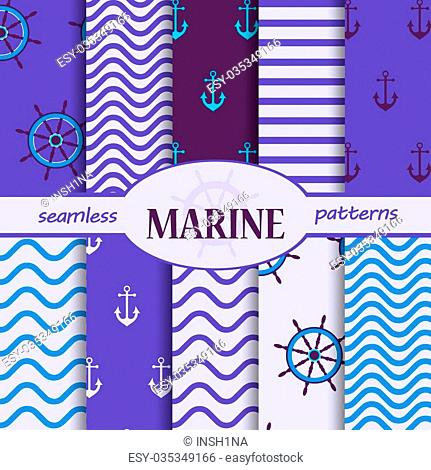 set of seamless patterns of sea, blue and white, the steering wheel, circle, anchor, waves