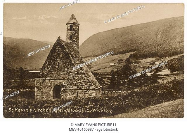 'St. Kevin's Kitchen' a church within a 6th century monastic settlement, with a tower built as a refuge against Viking and Clan raids, Glendalough