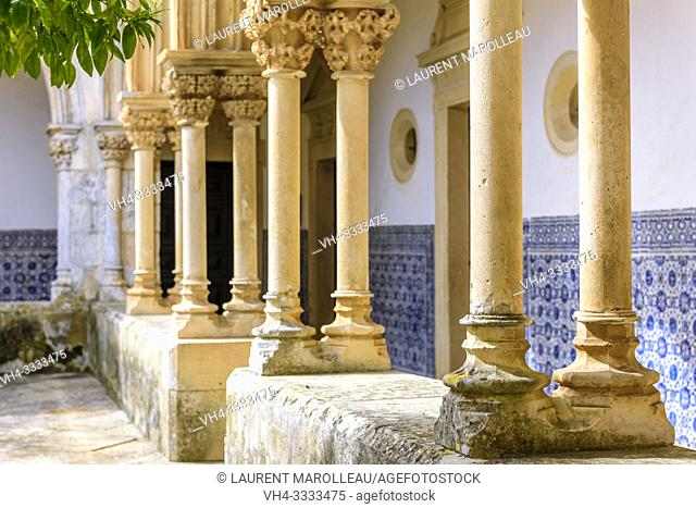 Columns and Capitals of Arches, Cemetery Cloister of the Convent of Christ in Tomar, Santarem District, Centro Region, Portugal, Europe