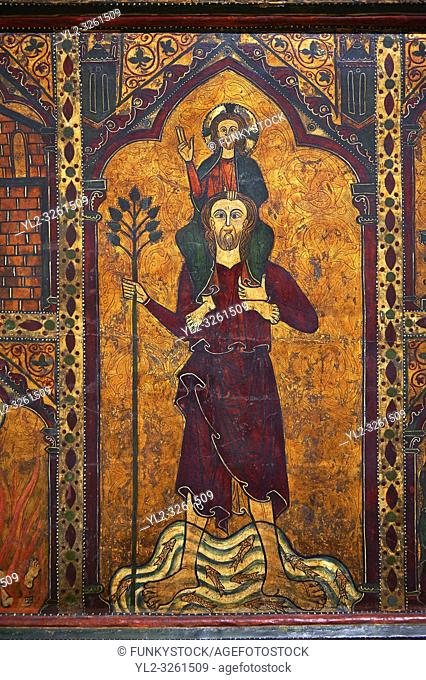 Gothic painted Altar frontal of Saint Christopher by Master of Soriguerola. Tempera and varnished metal plate on wood. Beginning of 14th century