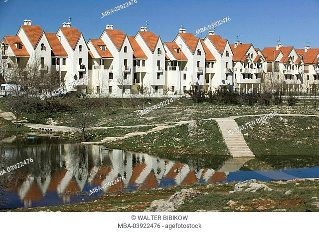 Morocco, Ifrane, settlement, houses, park, pond, Africa, North-Africa, city, buildings, residences, condominiums, vacation-apartments, architecture, rowhouses