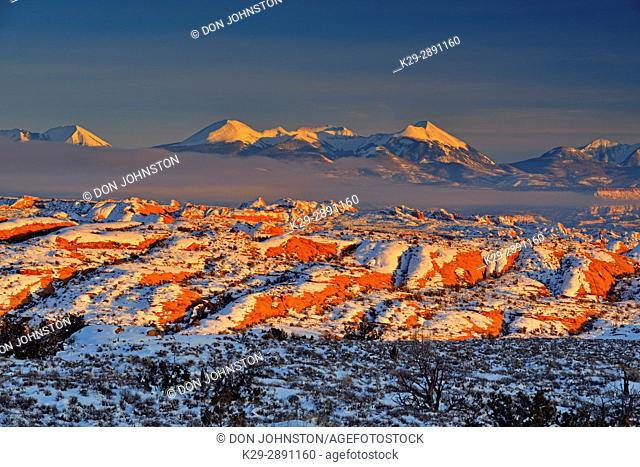 Fresh snow and the La Sal Mountains near sunset, Arches Natinal Park, Utah, USA