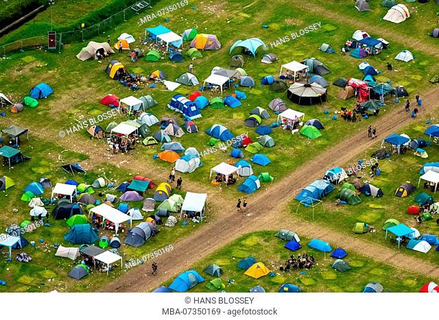 Ruhrpott Rodeo, campground, tents, punk festival, music festival at the airport Schwarze Heide in Bottrop, Bottrop, Ruhr area, North Rhine-Westphalia, Germany