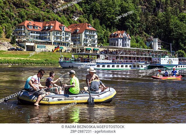 Rafting boat and paddlesteamer, Kurort Rathen, Saxon Switzerland, Saxony, Germany, Europe