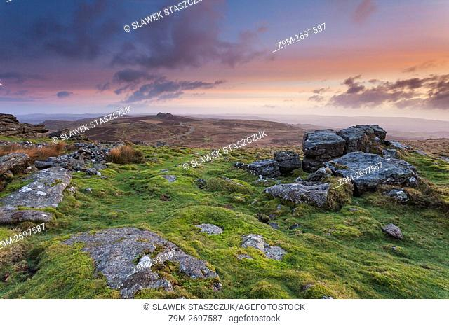 Sunrise at Rippon Tor, Dartmoor National Park, Devon, England