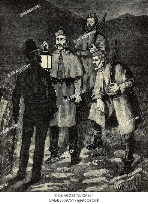 Police patrol challenging a suspected person, Ireland, engraving from The Illustrated London News, No 2203, August 6, 1881