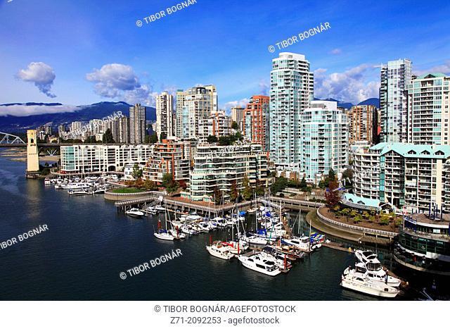 Canada, Vancouver, skyline, False Creek, marina, boats,